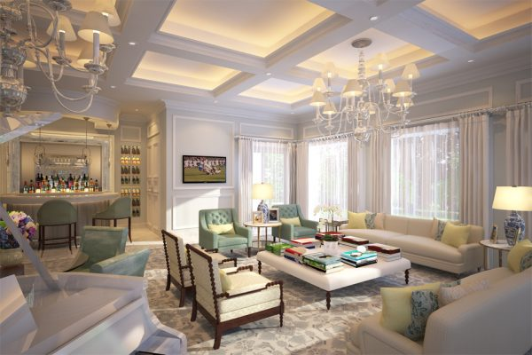 Residential Interior Living Room Design - Emirates Hills Villa