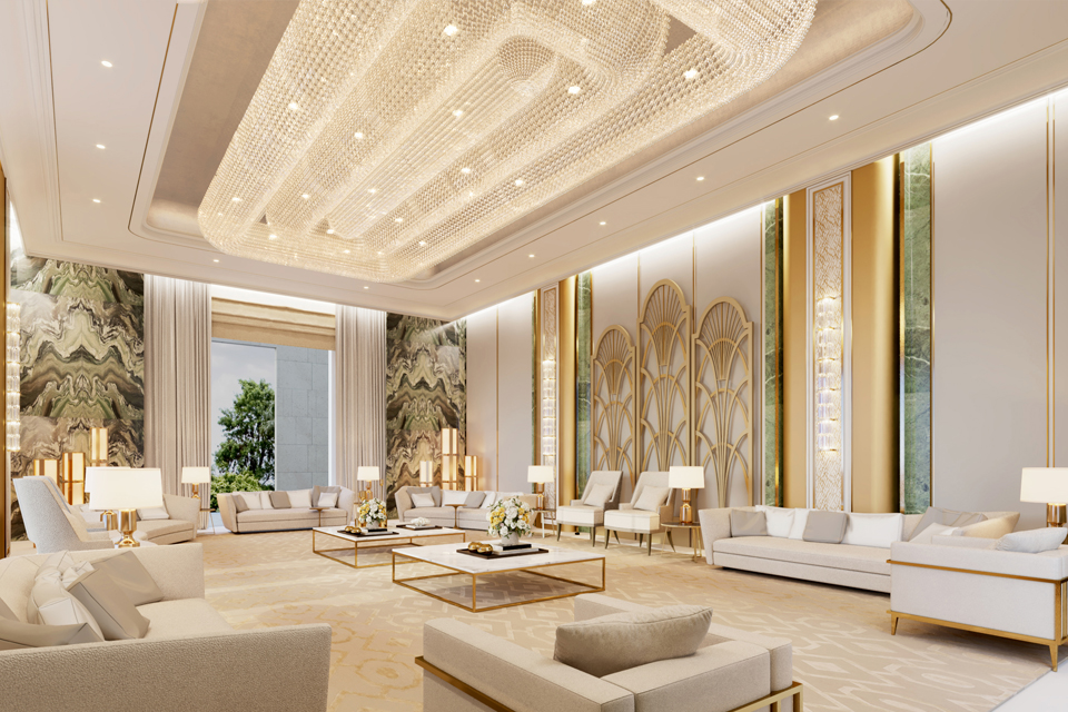Luxury sofas & white topped coffee tables on large patterned rug with marble walls, gold wall decor & 3D lighting on ceiling