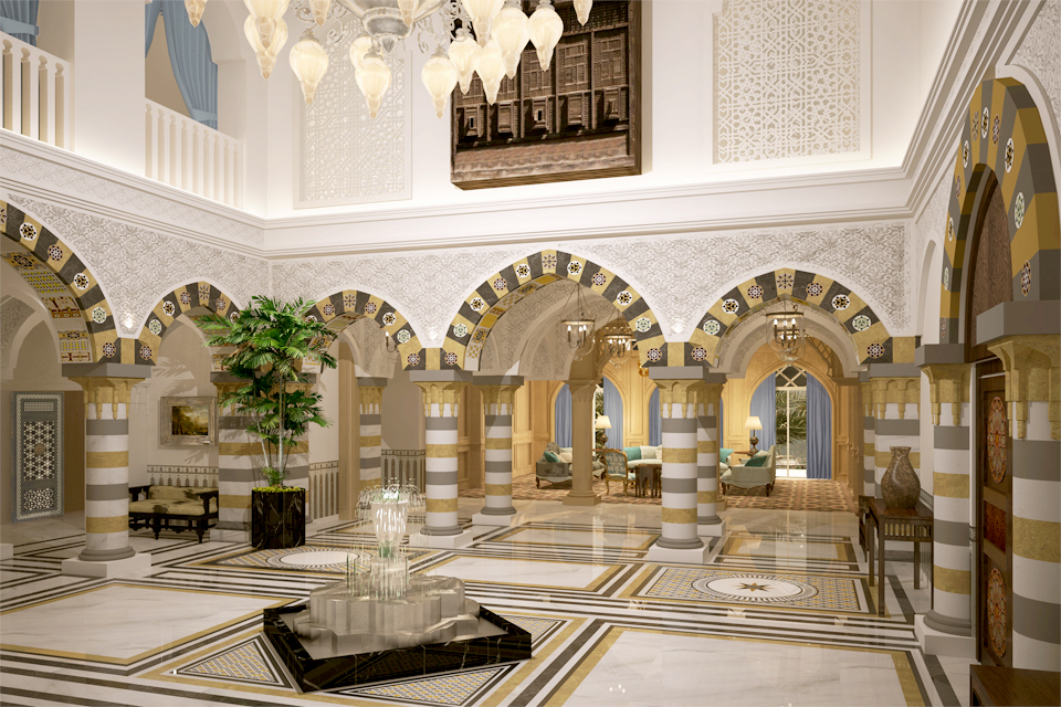 Interior Courtyard Design - Middle Eastern decor - Golden & grey striped pillars, patterned flooring & water feature