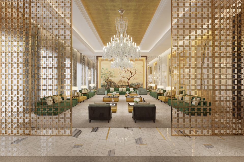 Majlis Design - Greenish marble surrounding, emerald green sofas & gold-sided tables with large mural & Victorian chandelier