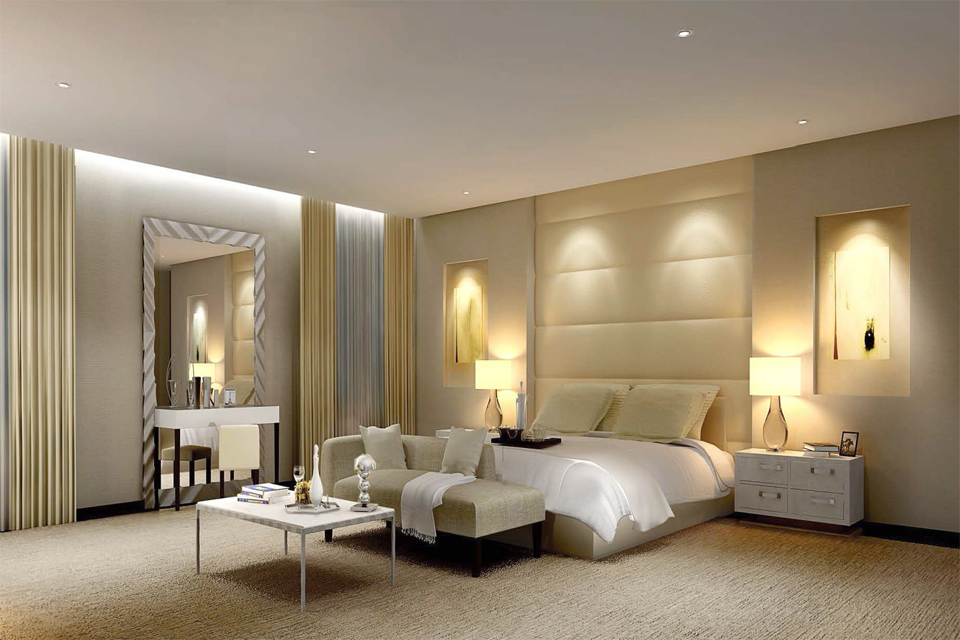 Modern Bedroom Design - Bed with padded built-in headboard on textured carpet