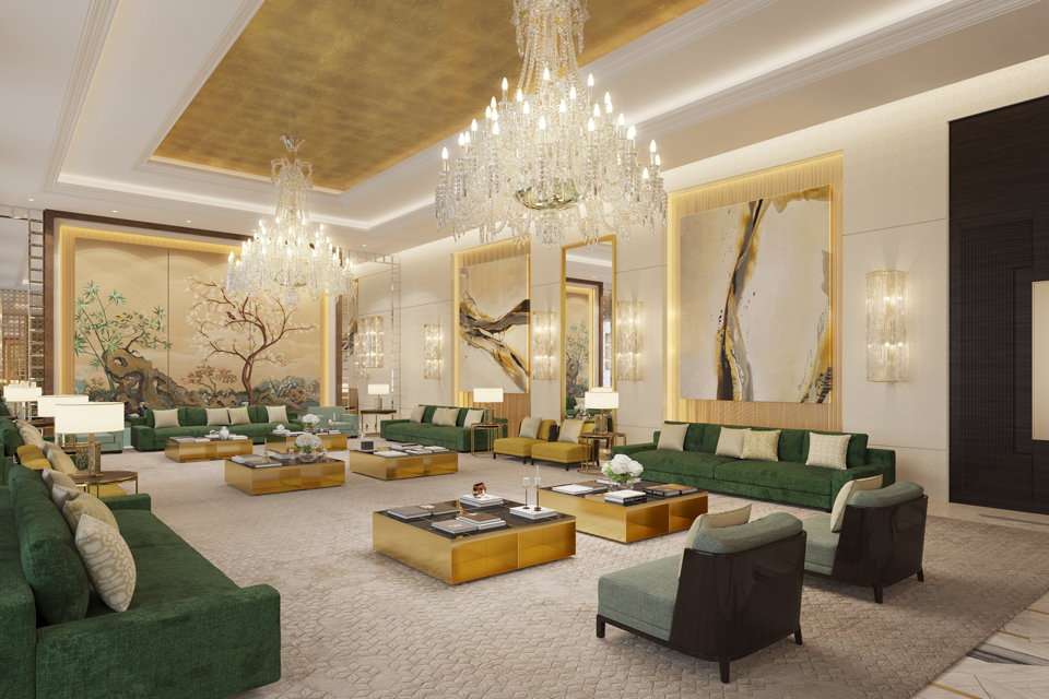 Majlis Design - Greenish marble surrounding, emerald green sofas & gold-sided tables with large murals & Victorian chandelier