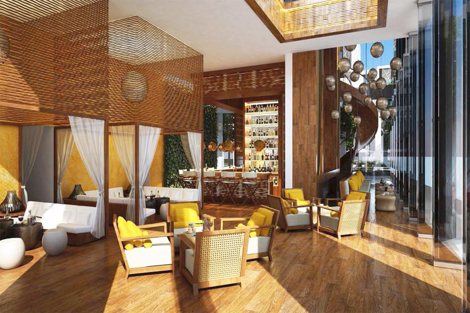 Bar & Lounge Design - Wooden floor with rattan furniture & ceiling features