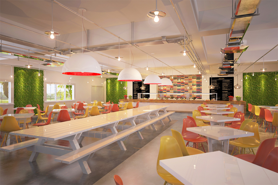 Office Cafeteria Design - Marble tables with red & yellow seating under industrial style lighting & modern wall features