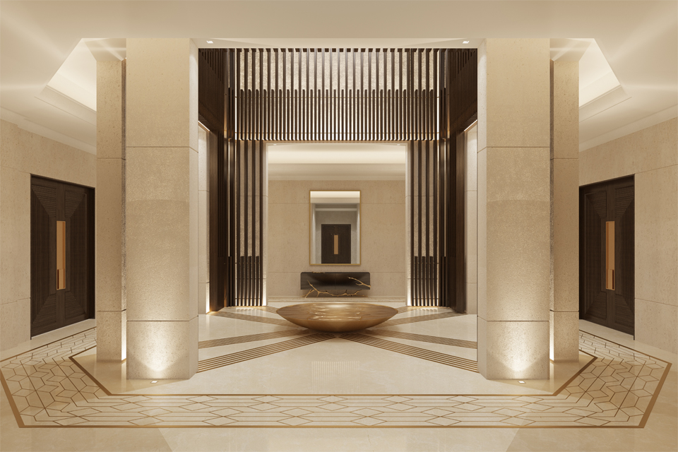 Internal Courtyard Design - Skylight above timber slats, a central brass water feature and brass inserts into polished limestone